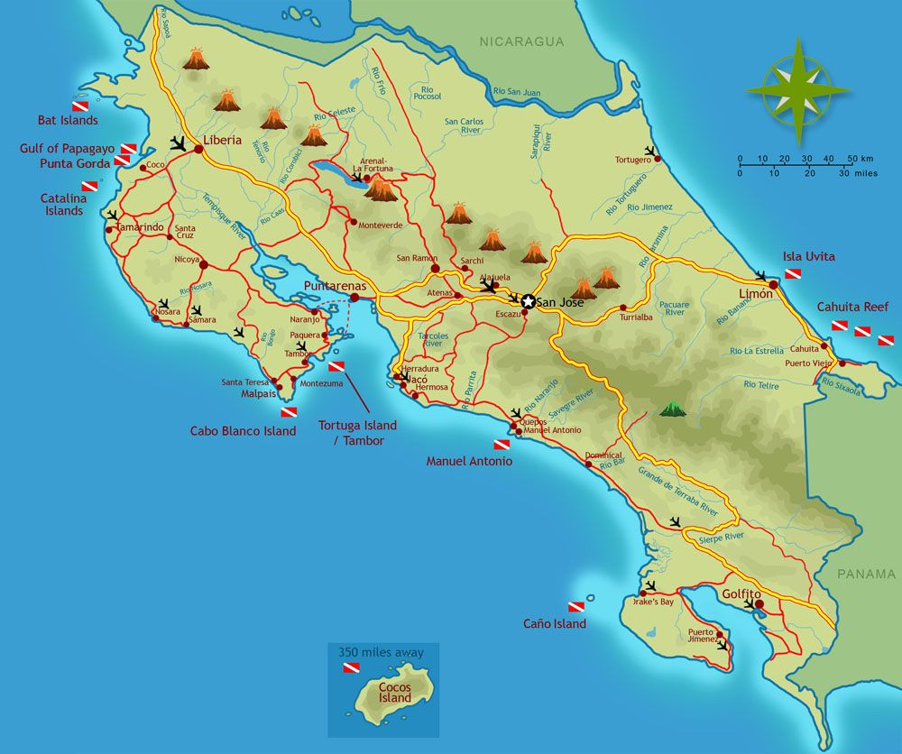 costaricascubadivingmap villas de oros can arrange your diving