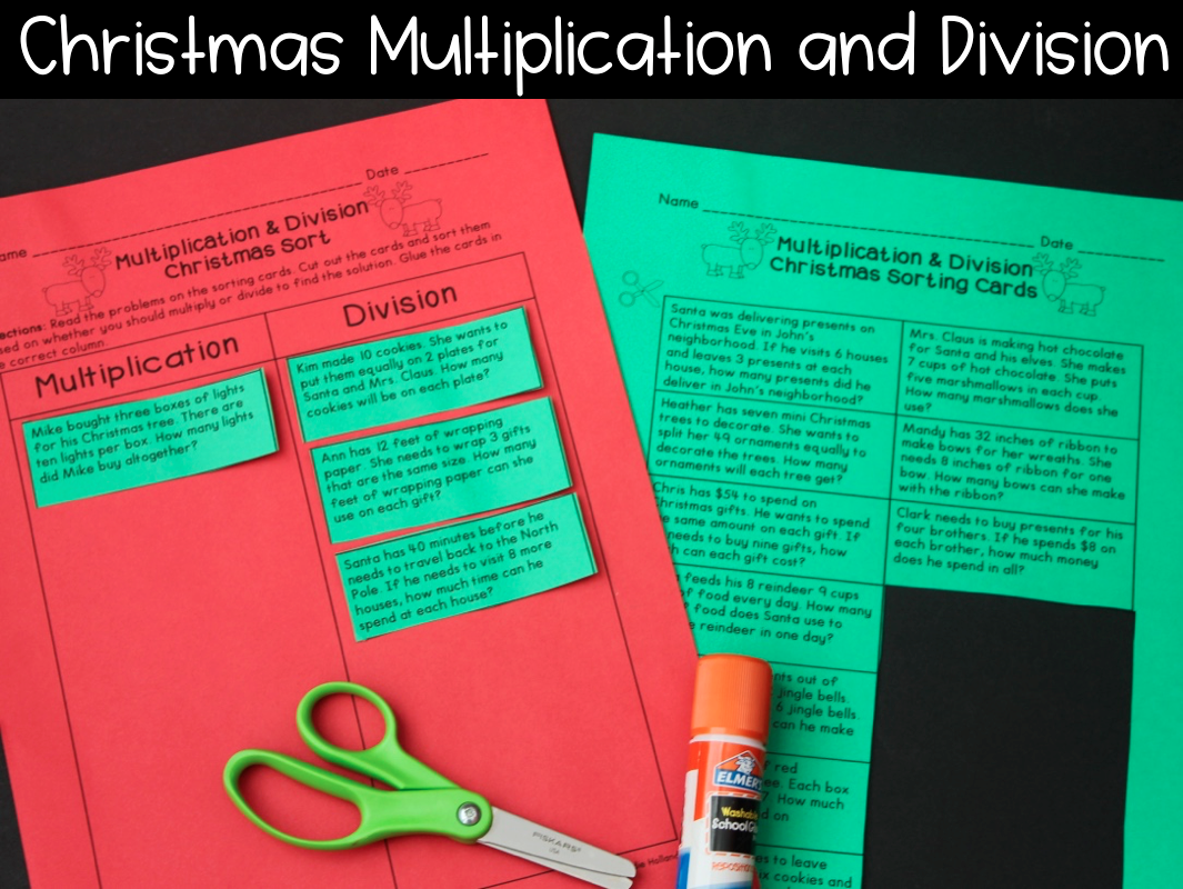 Christmas Multiplication and Division Word Problem Sort | Math Ideas ...