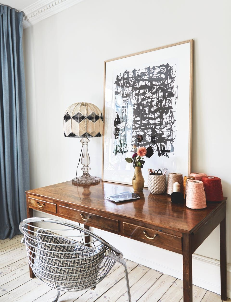 - Home Office Inspiration - Vintage Desk And Industrial Swing Chair