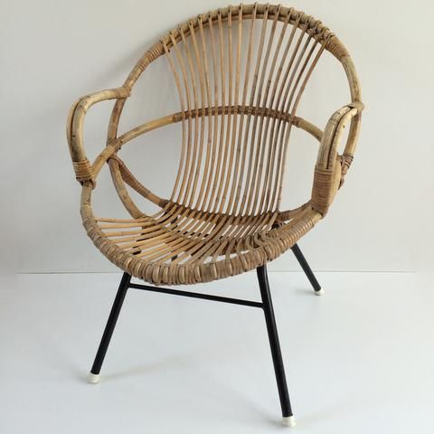 Vintage Rattan Wicker Chair Metal Feet Fauteuil Rotin Vintage - Fauteuil rotin metal
