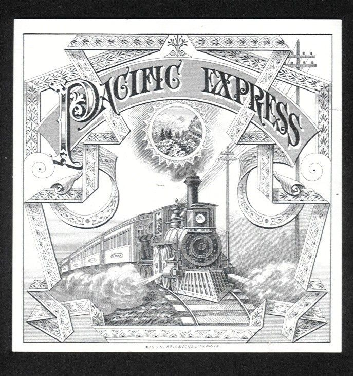 Pacific Express Image Of Steam Train On Tracks Outer Cigar