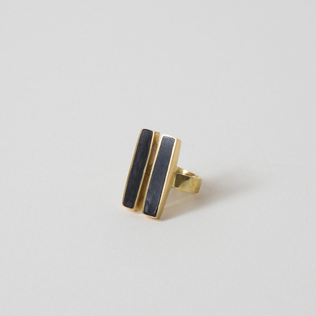 Great geo double bar horn ring by Soko