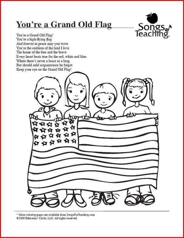 You Re A Grand Old Flag Preschool Songs Kids Poems Preschool Music