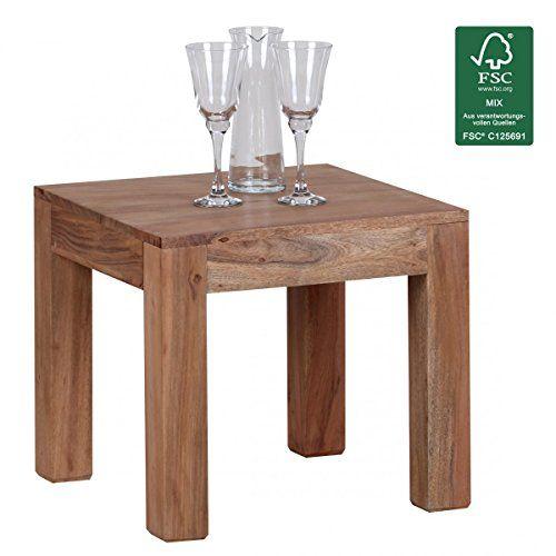 FineBuy Couchtisch Massiv-Holz Akazie 45 cm breit Wohnzimmer-Tisch - wohnzimmer design braun