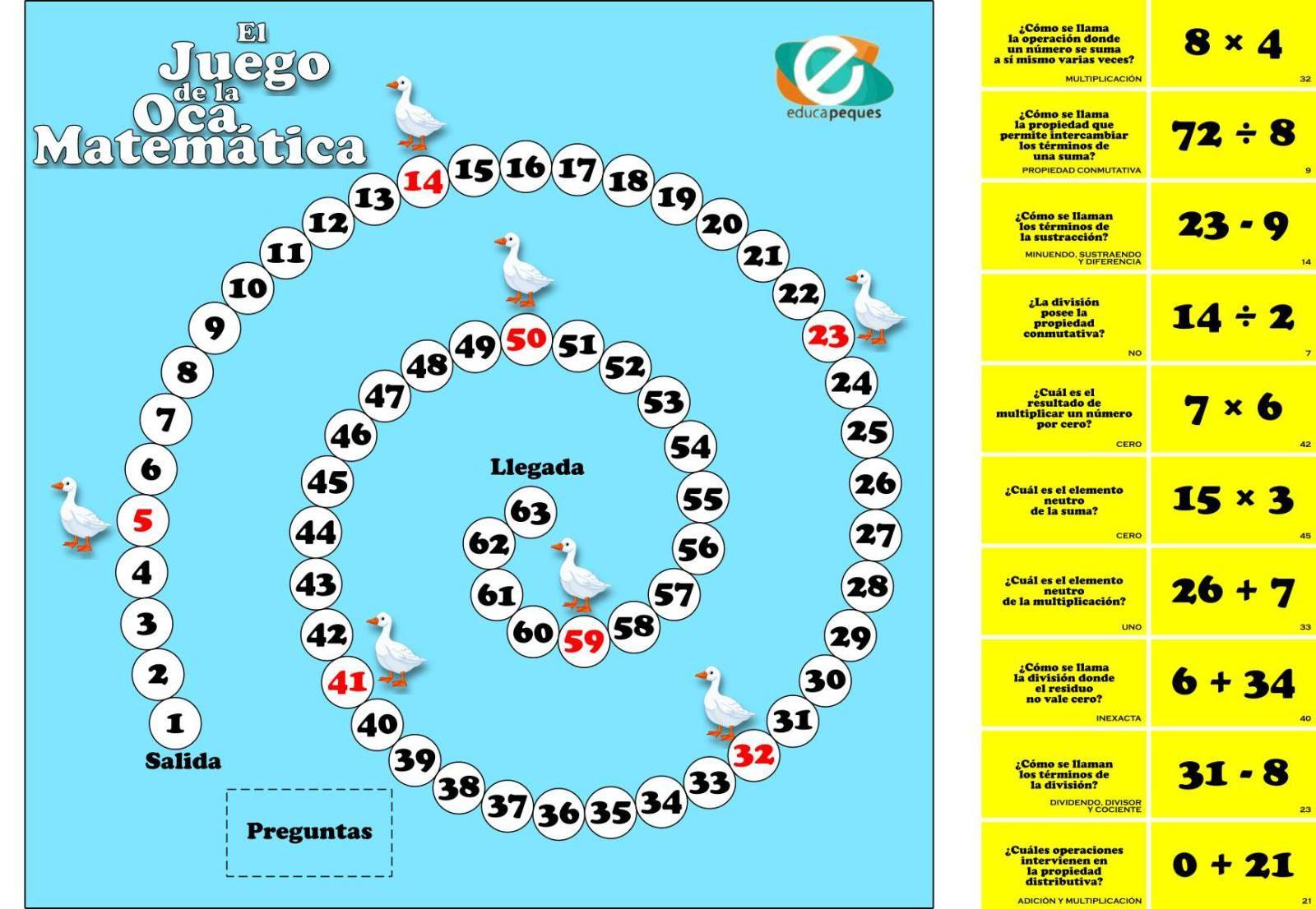 Juego educativo de matemáticas: La Oca Matemática   CONTEO 3   La ...