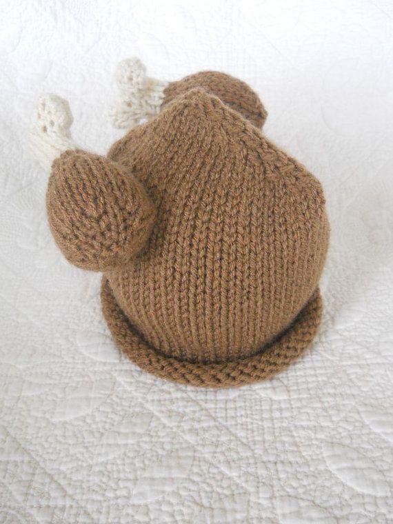 Hand Knit Turkey Hat Knitted Newborn Baby Photo Prop Winner Winner