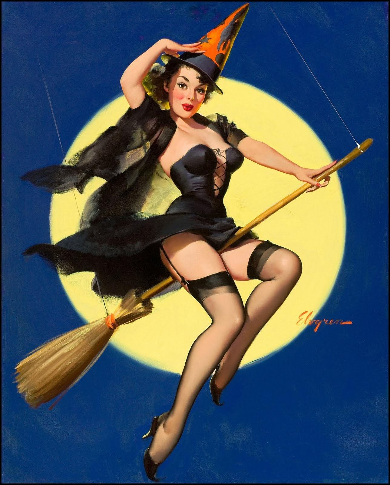 gil elvgren. just for halloween. are you a good witch or a bad witch