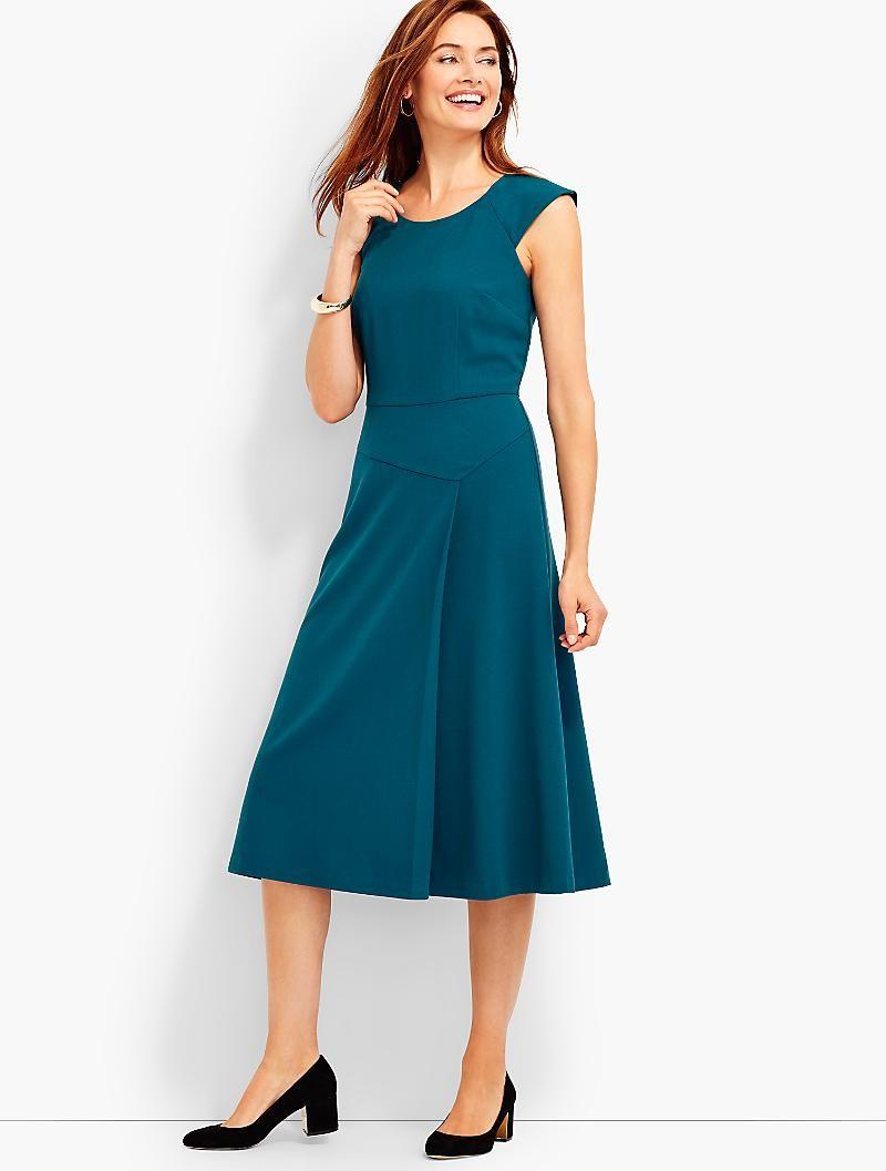 Moss Crepe Fit And Flare Midi Dress Talbots Fit N Flare Dress Dresses White Stretch Dress [ 1057 x 800 Pixel ]