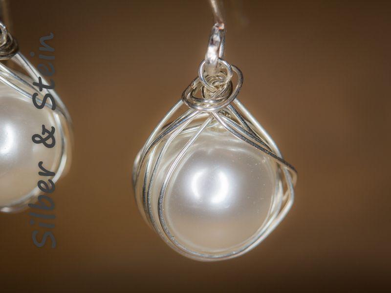 Perlen-Ohrringe gewickelt von Silber & Stein auf DaWanda.com ...