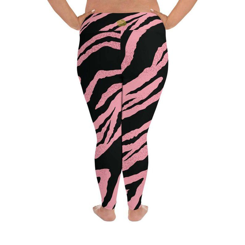 8a9a76c79196 Kana Pink Black Tiger Stripe Animal Print Women's Long | Etsy Plus Size  Leggings, Tight