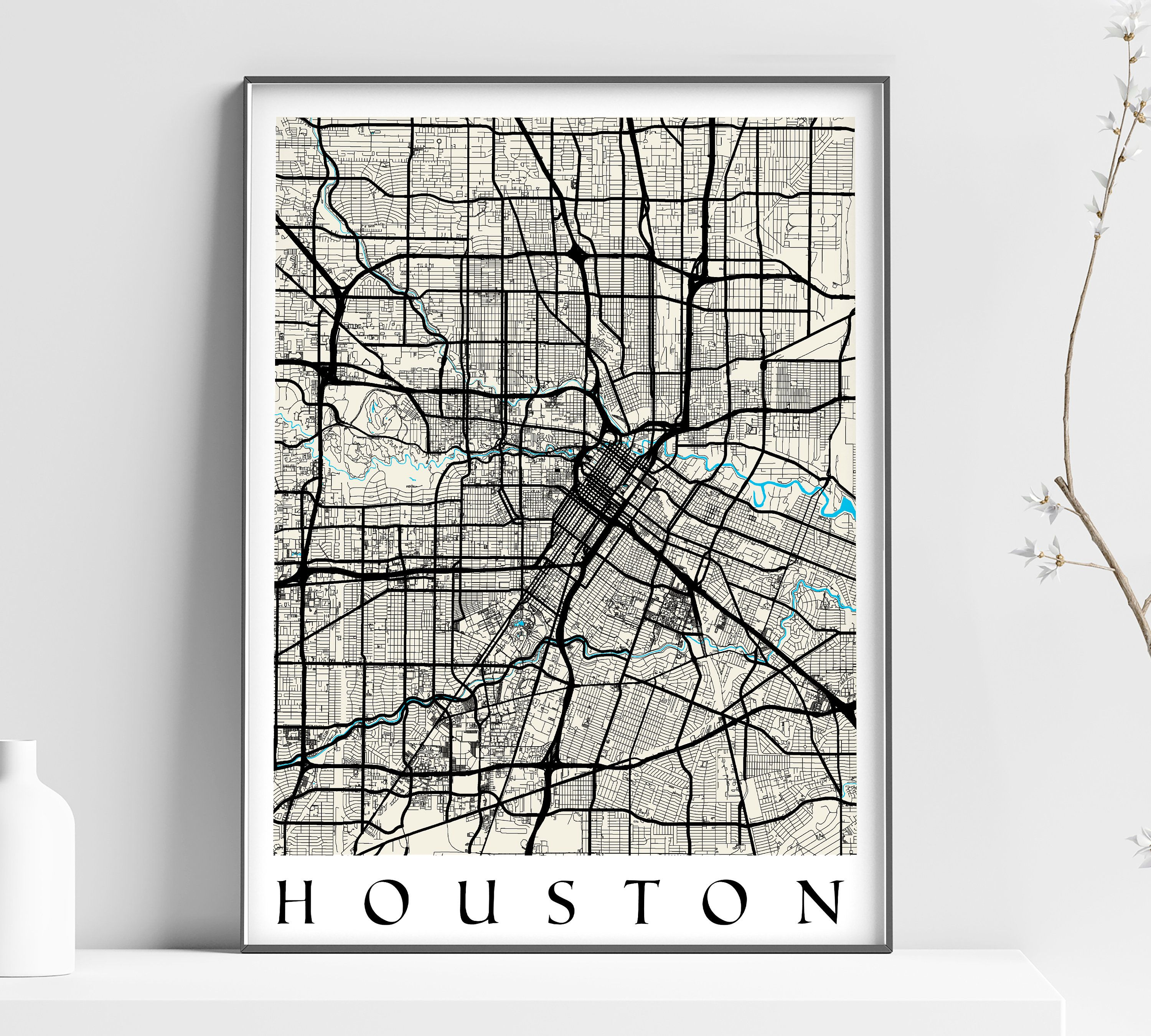 Map Of Houston Texas Home Decor Wall Decor Office Map