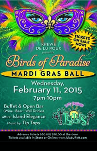 LuLu's 3rd Annual Birds of Paradise Mardi Gras Ball on February 11, 2015 in #GulfShores