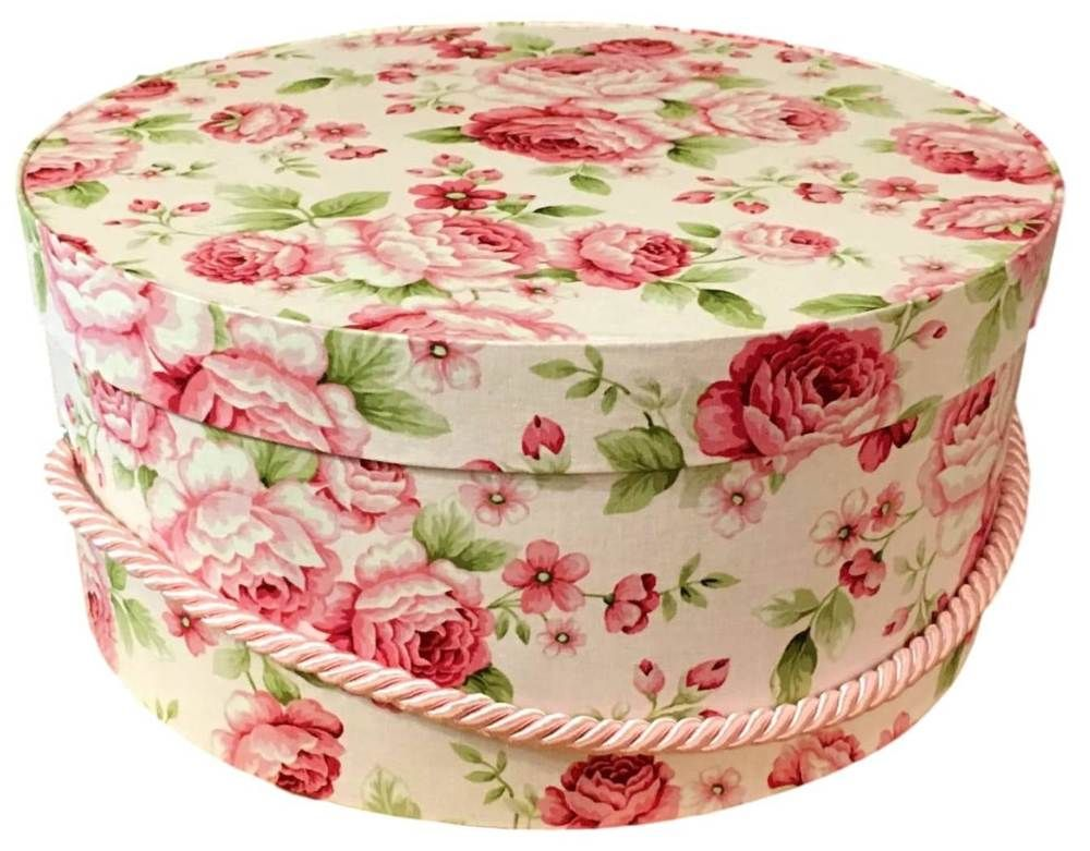 Hat Box In Pink Rose Fabric, Hat Boxes, Round Box, Storage, Decorative Box