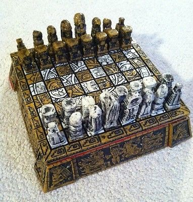 Aztec Set Styles | Very Rare Vintage Mexican Aztec Mayan Chess Set 6 3/