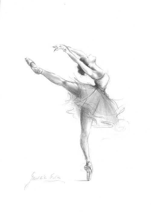 Print of Ballerina, Print of Sketch, Print of Drawing, Graphite ...