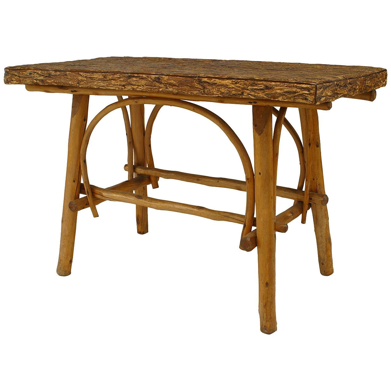 Turn of the Century American Adirondack Style Barked Center Table 1 ...
