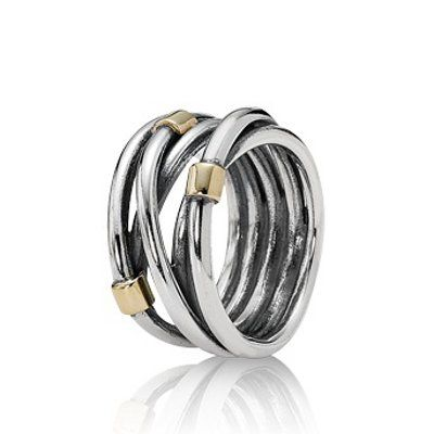 Stories Silver Ring med Guld, Silver Rope, Pandora