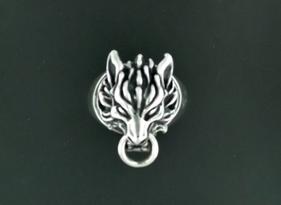 Cloud Strife Wolf Ring in Sterling Silver by LeDragonArgente, $125.00