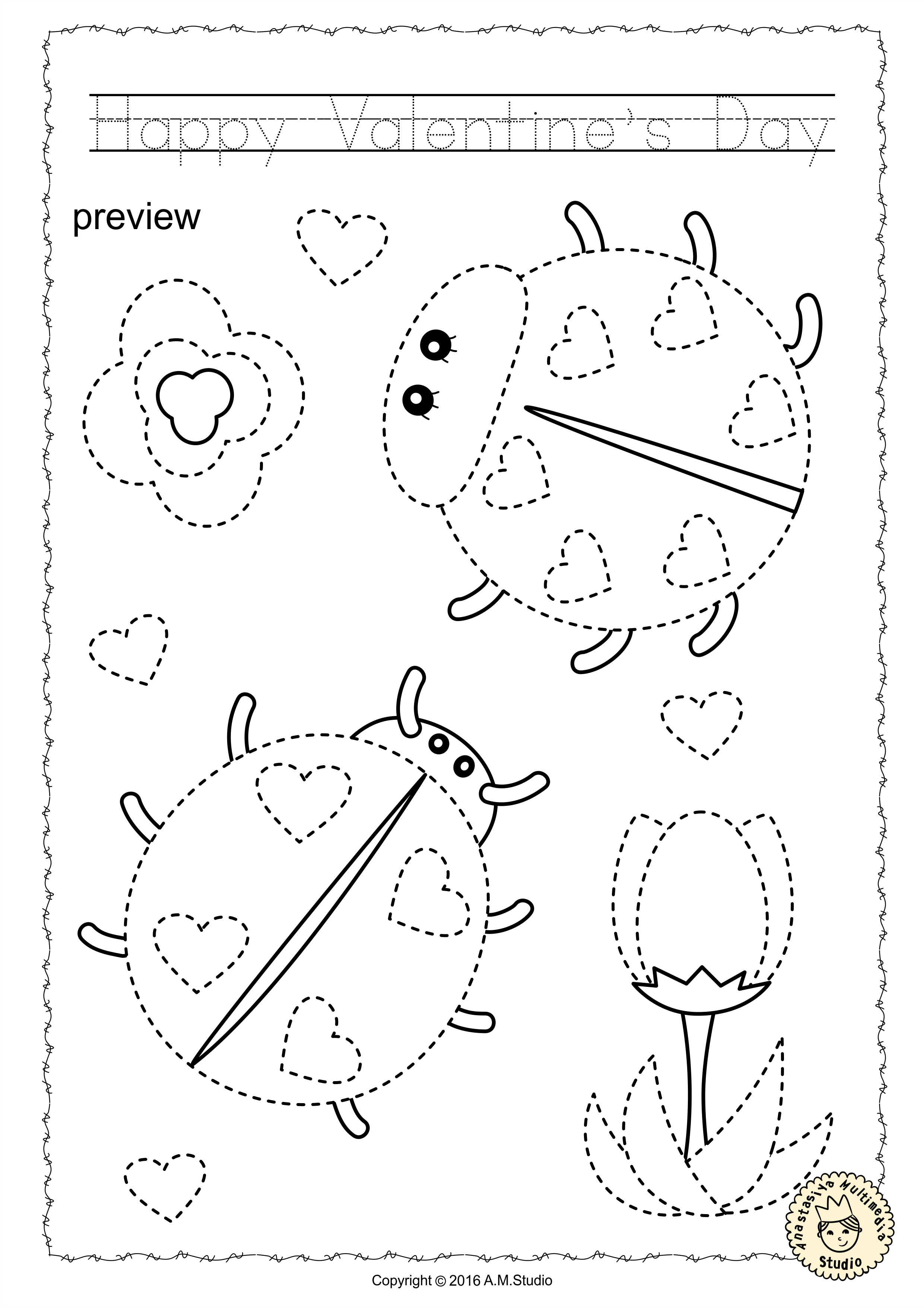 This File Includes 20 Valentine S Day Themed Tracing And Coloring Worksheets