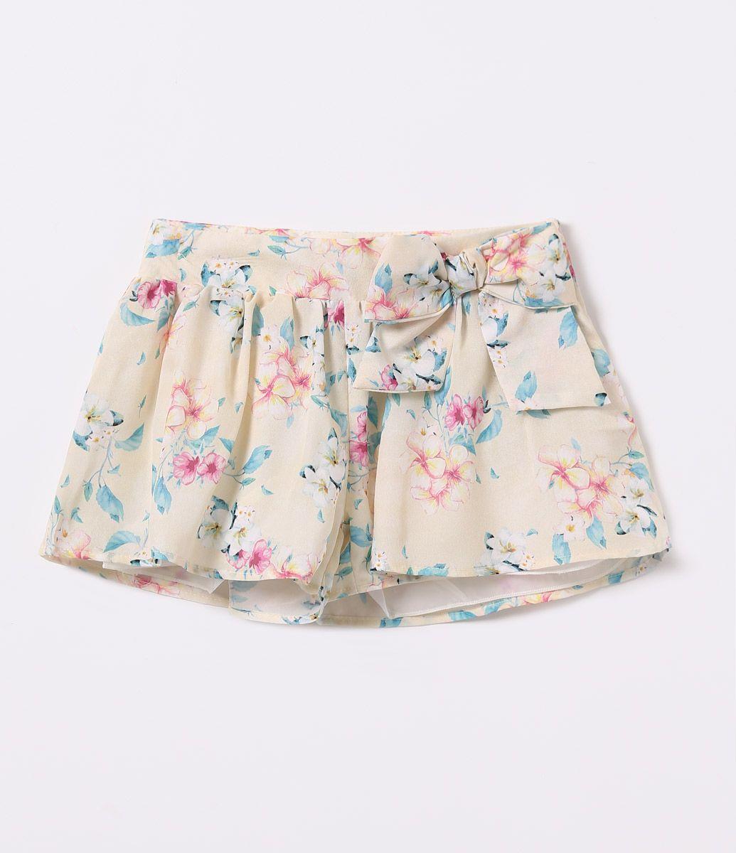 6caa1d0bad68 Short Saia Infantil Floral com Laço Aplicado - Tam 1 a 4 anos - Lojas Renner