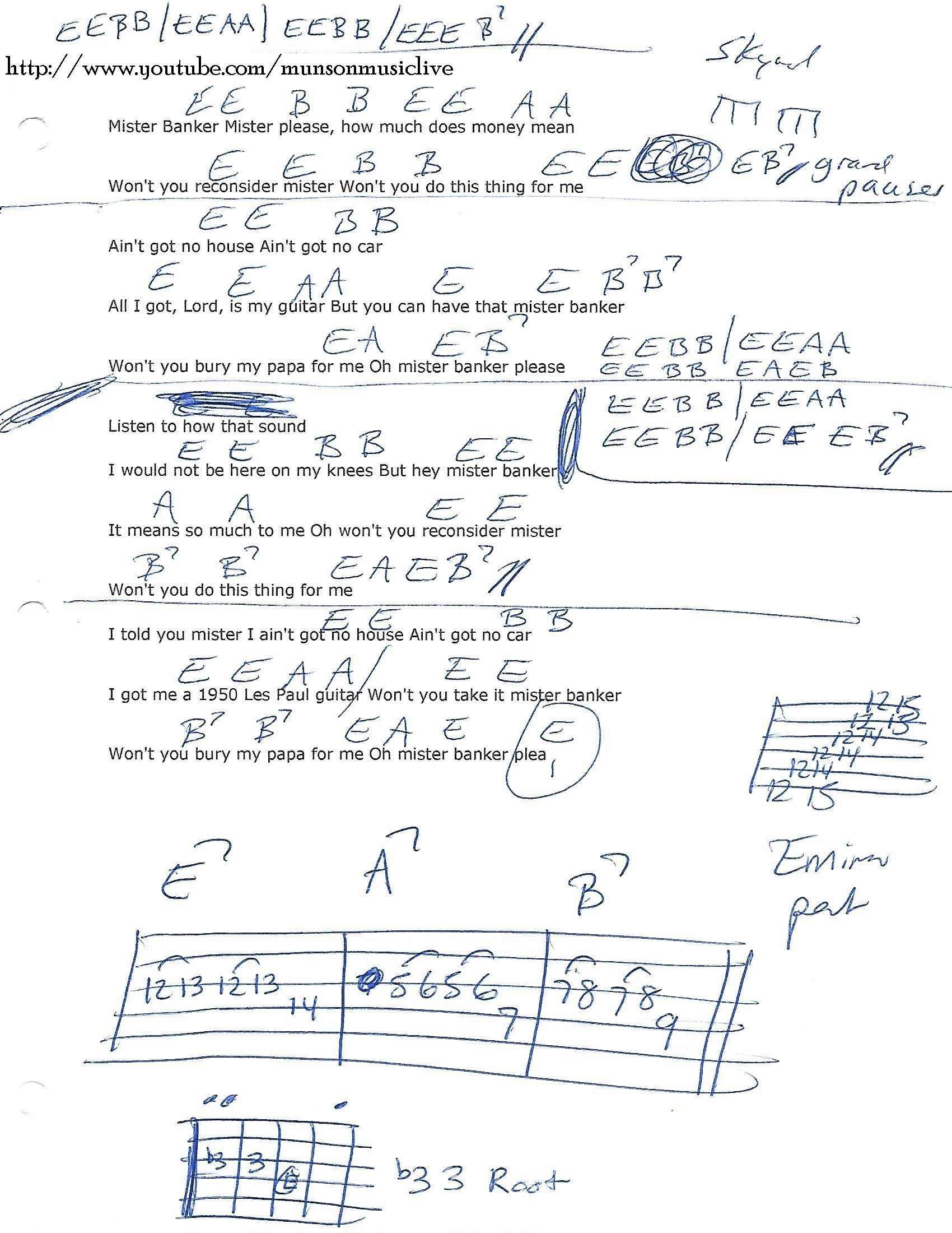 Mr Banker Lynyrd Skynyrd Guitar Chord Chart Guitar Lesson Chord