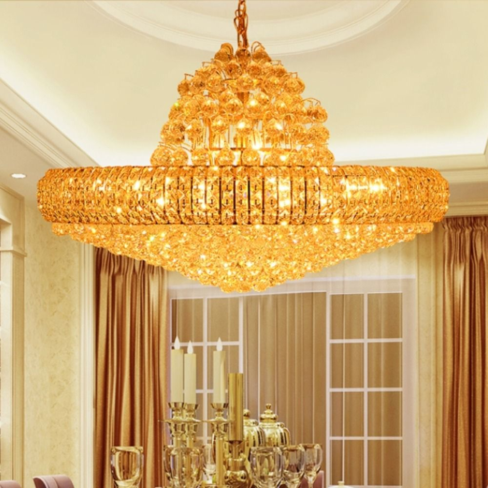 Led golden crystal chandeliers big round golden chandeliers lighting led golden crystal chandeliers big round golden chandeliers lighting fixture crystal drop lights lustres d75cm aloadofball Image collections