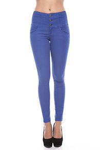High Waist Denim Pants in Royal Blue by Foreign Exchange.. pair with a flowy floral top for a casual look or dress up with crop top & wedges for nightlife!