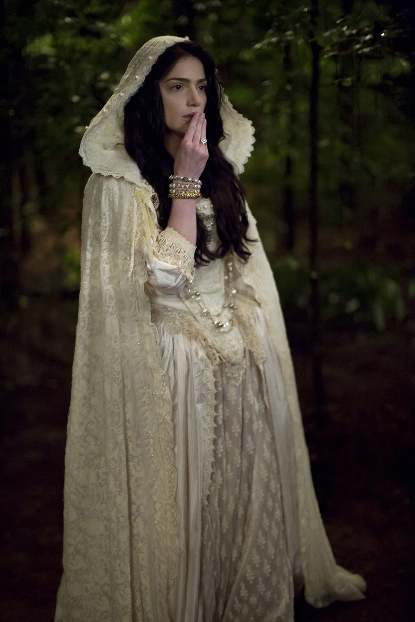 Mary Sibley Episode 212. White lawn cape is hand embroidered along with underskirt. Cuffs and collar are 18th century. Made in our studios.