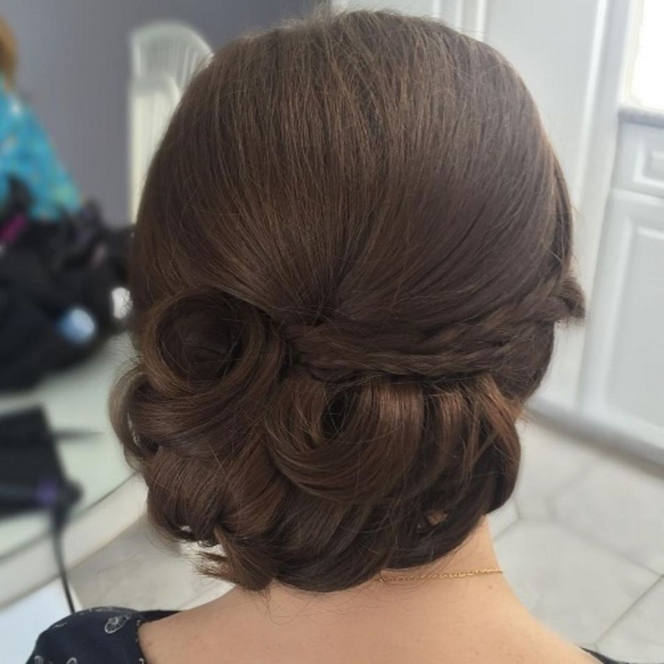 Low Formal Updo For Thick Hair Medium Length Hair Styles Updos For Medium Length Hair Hair Lengths