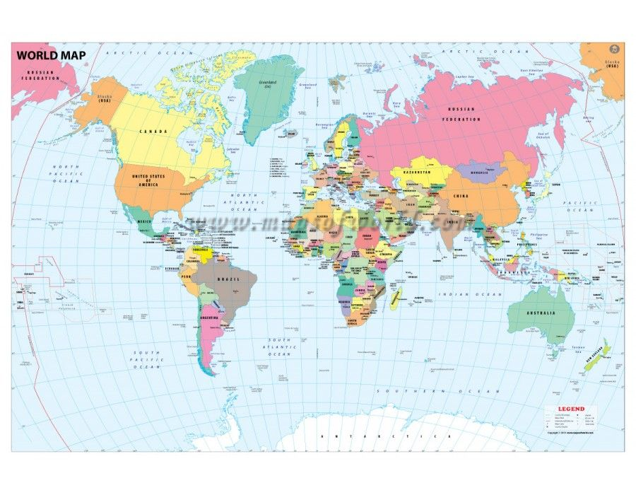 Buy World Map With Country Capital - World countries and capital cities