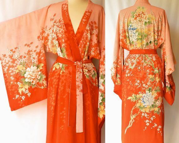 9c36de6254 Vintage 1940s Silk Kimono   Japanese Robe   by ModLoungeVintage ...