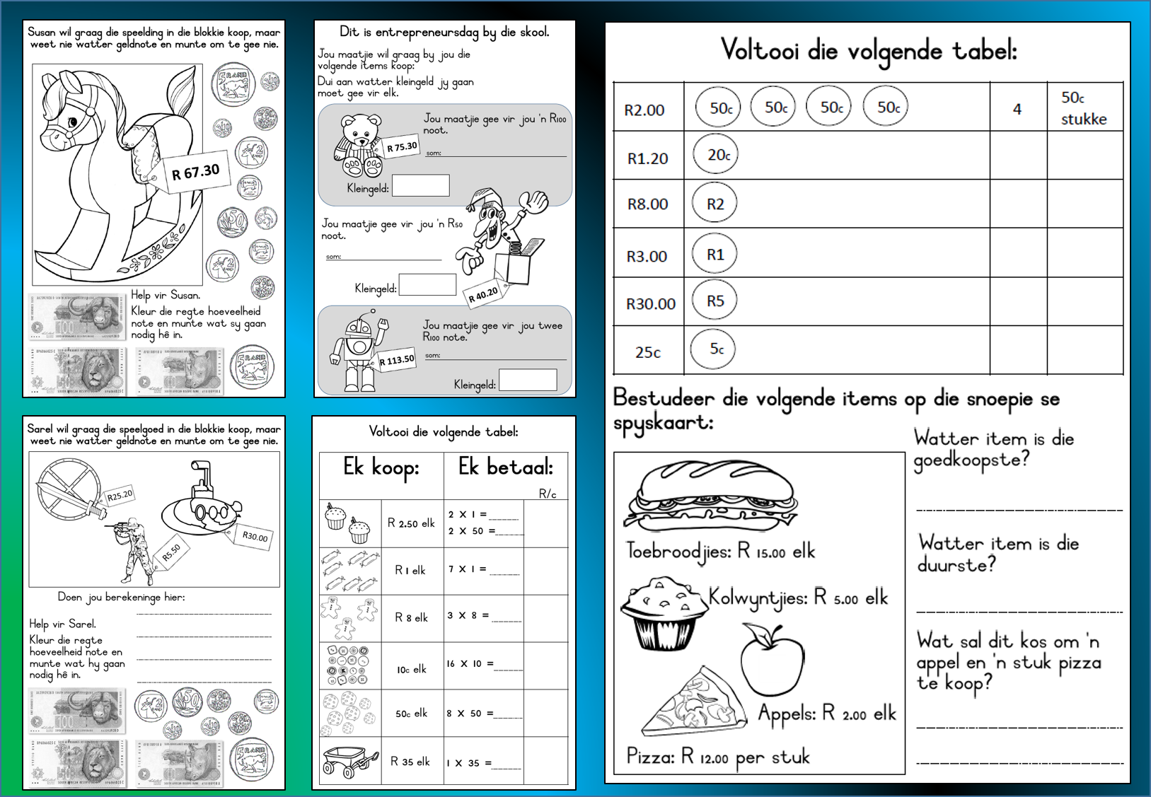 worksheet Grade 4 Afrikaans Worksheets Download pin by komma leer en leessentrum on afrikaans engels wiskunde money worksheets grade 3 mathematics maths homeschool math homeschooling