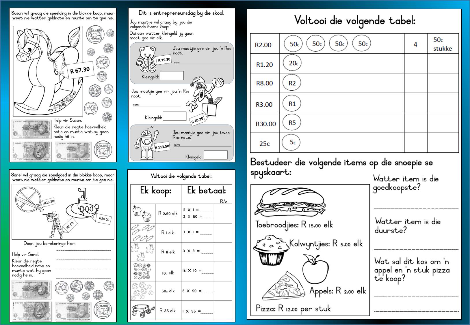 small resolution of Wiskunde Geld: Gr 3   Mathematics worksheets