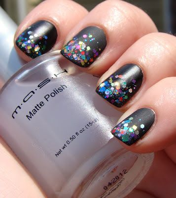 Absofreakinglutely love this look! (MASH Nails Matte Polish Review, Lynnderella The Glittering Crowd.) My bottles of The Glittering Crowd and MASH are on the way. ;-)