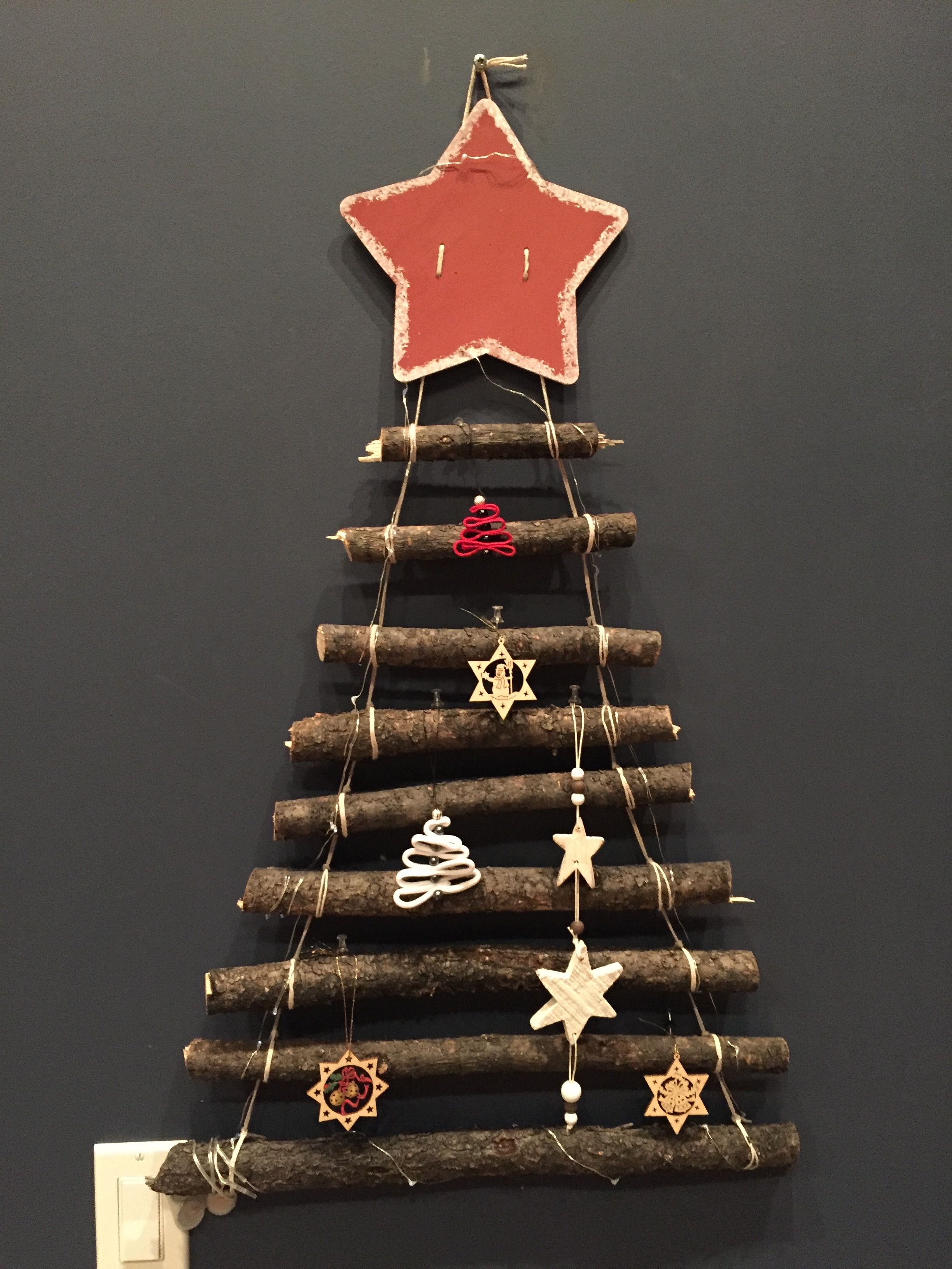 Stick Christmas tree for the wall