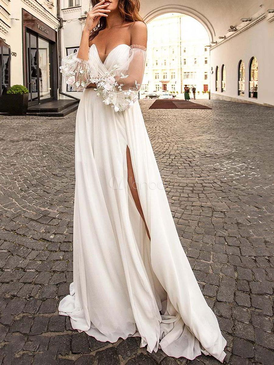maxikleid 1/2 Ärmel langes kleid trägerlos polyester weiß