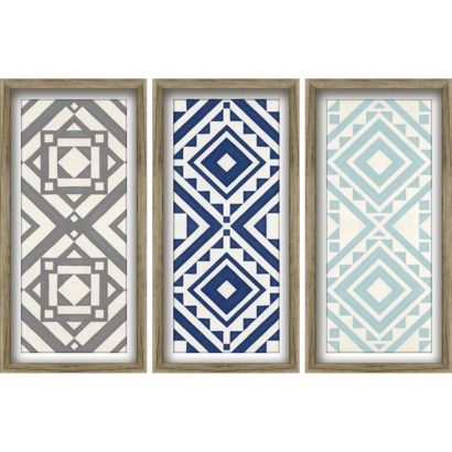 Wall Art Target modern quilt art 3 pack - blues 12x24 wall art - trendy pattern