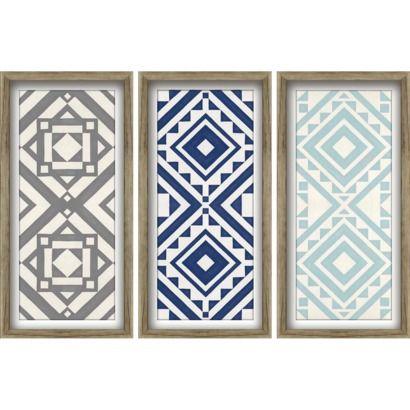 Modern Quilt Art 3 Pack - Blues 12x24 Wall Art - Trendy Pattern ... : framed quilt art - Adamdwight.com