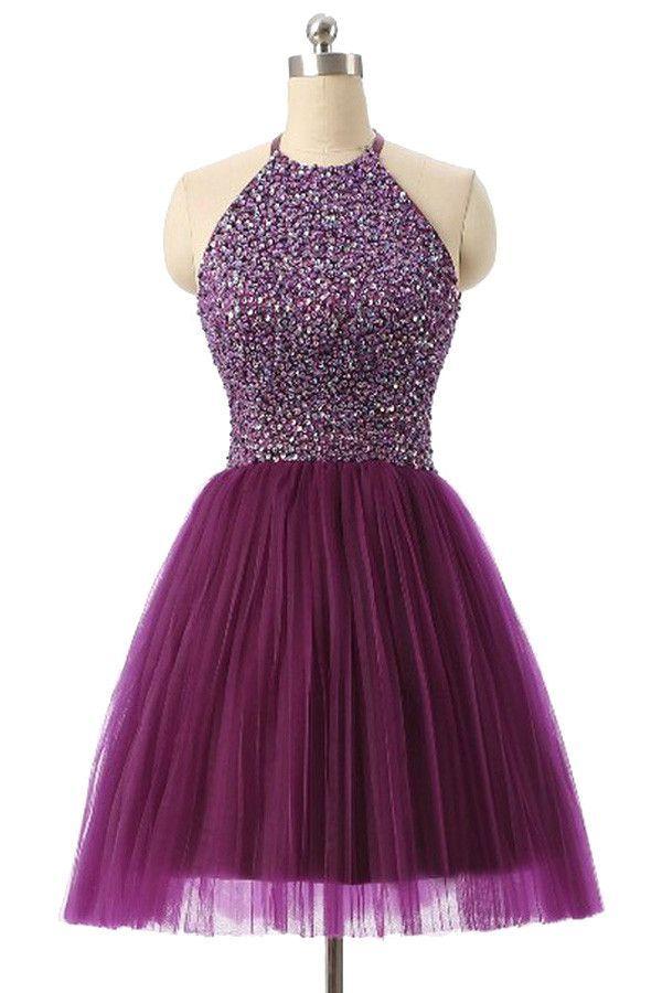 Halter Sleeveless Short Purple Homecoming Dresses Prom Dresses PG014 ...