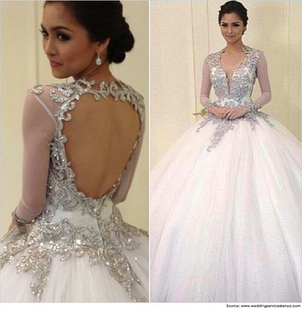 Ballgown with encrusted open work backing and tulle skirt | Bridal ...