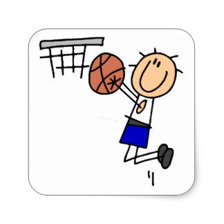 Stick Figure Basketball Sink T Shirs And Gifts Square Sticker Stick Figure Drawing Stick Figures Doodle People