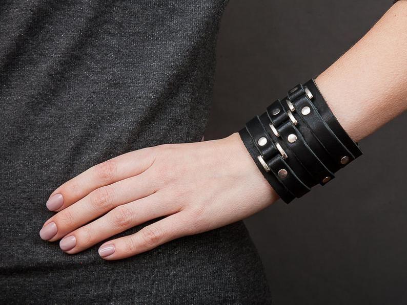 Fashion Leather Wrap Wide Wristband Cuff Punk Men Women Bracelet Bangle Jewelry