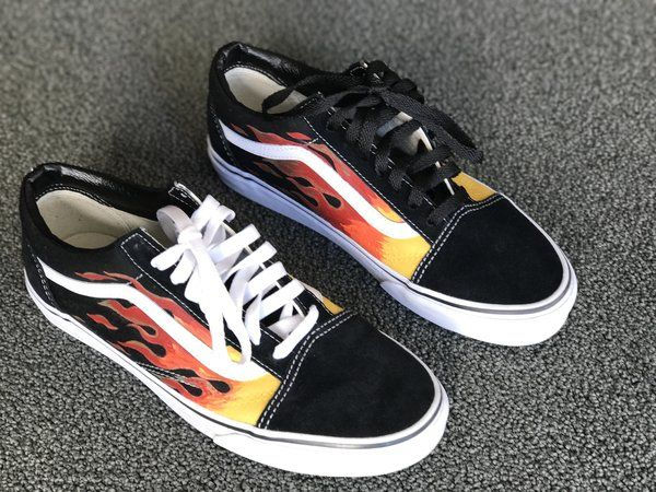 Hand Painted Flames Pt2 On Old Skool Vans Vans Shoes Sneakers