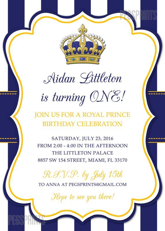 image about Printable Birthday Invitations for Boy named Royal Prince Birthday Invitation // Printable Prince