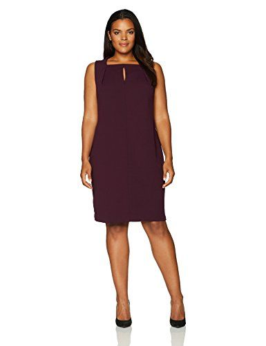 lovely calvin klein women's plus size sleeveless solid sheath with
