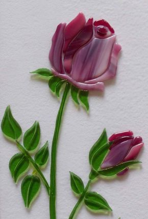 c85e7f7bba Glass rose | Art Glass | Stained glass rose, Glass jewelry, Glass