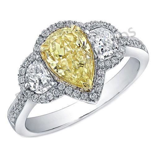 3.91 CT TDW YELLOW & WHITE SOLITAIRE DIAMOND ENGAGEMENT RING 14 K WHITE GOLD#B 5 #Solitaire