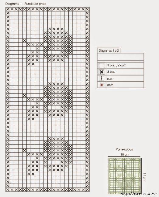 Mantel individual con servilleta tejidos al crochet con diagrama y patr n crochet y dos - Individuales para mesa ...