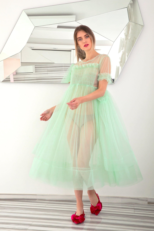 Mint Tulle Dress Villanelle Dress Sheer Dress Puff Dress Etsy Sheer Dress See Through Dress Puff Dress [ 3000 x 2001 Pixel ]