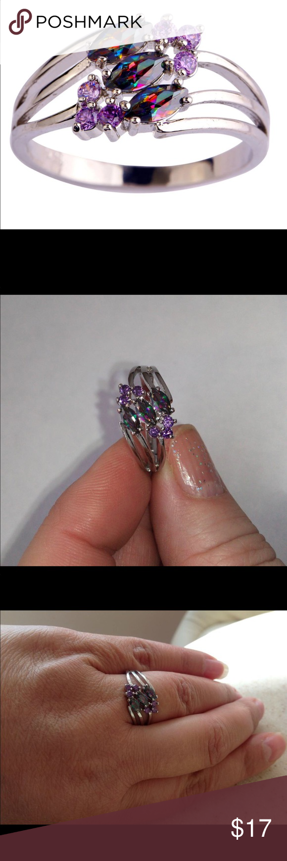 Purple CZ Silver Color Ring Women Jewelry Size 6 lingmei New Nice Arrival Mysterious Multi-Color & Purple CZ Silver Color Ring Women Jewelry Size 6 Jewelry Rings